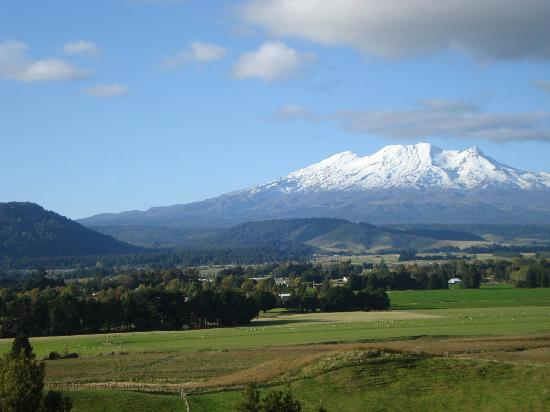 The Peaks Motor Inn: Looking over Ohakune to Mt Ruapehu
