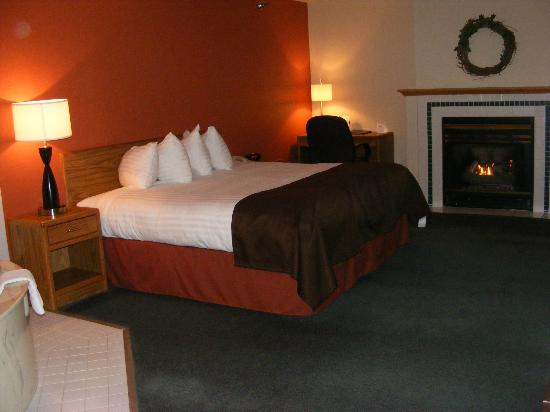 AmericInn Lodge & Suites Albert Lea : Bed with fireplace
