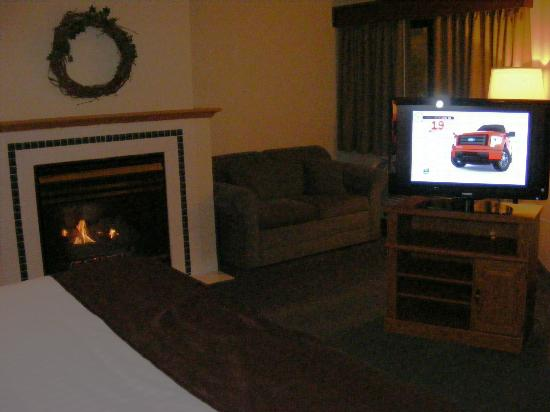 AmericInn Lodge & Suites Albert Lea: Fireplace and couch