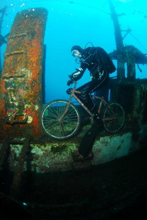 Blue Explorers Tenerife: Ronald exploring the wreck in his own special way!