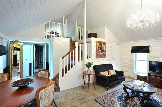 The Loft In The Mill Boutique Accommodation: Loft Suite Stairwell from  Lounge up to 2nd