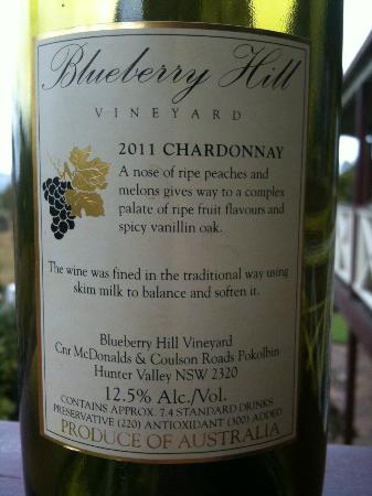 Blueberry Hill: Wine label - back of bottle