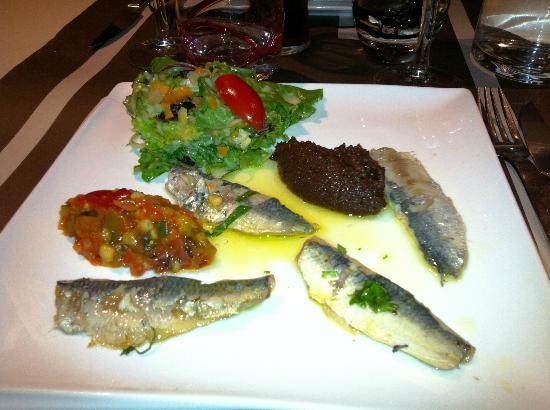 La Gentilhommiere : filets de sardine marinés tapenade et légumes croquants
