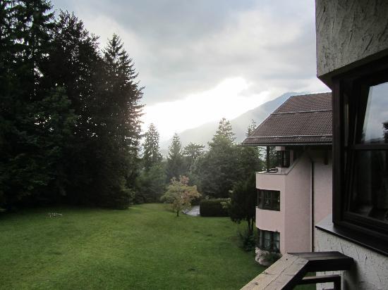 Dorint SportHotel: Vue de la terrasse. La route se trouve derrière les sapins, en contrebas.