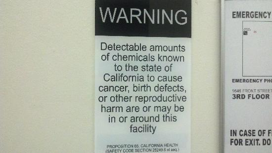 Doubletree Hotel San Diego Downtown: The cancer warning sign welcoming you to the hotel