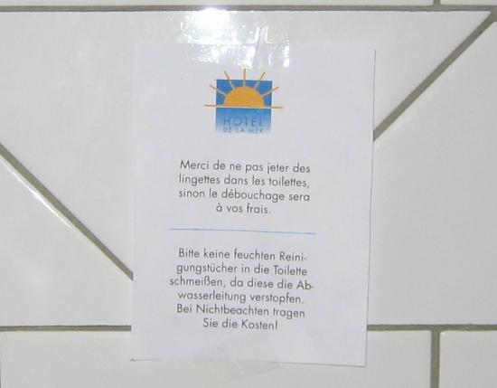 Hotel residence de la Mer : Hinweis auf Toilettenbenutzung