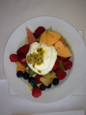 Ceespray on Owen: Delicious fruit salad with home made poached pears and Devine yoghurt!!!