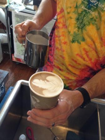 Camp Coffee Roasters: Barista art on my mocha!