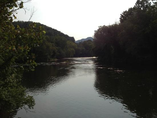 Riverbend Lodging: view from deck outside the room