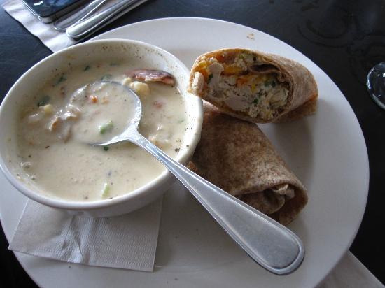 Flavor : chowder with chicken salad wrap