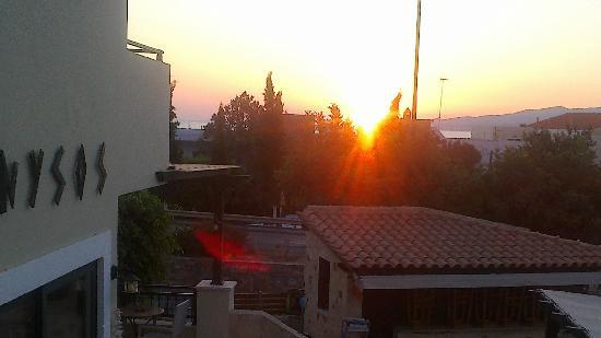 Dionysos Apartments & Studios: sunrise on our balcony