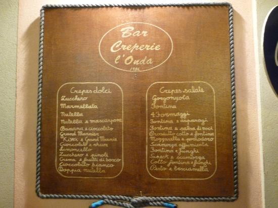 Bar Creperia L'Onda: Il menu