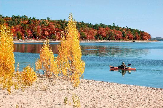 Fall kayaking on East Grand Traverse Bay, Traverse City, MI