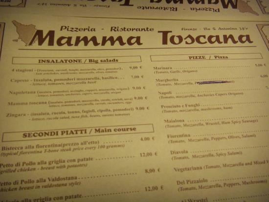 Mamma Toscana : menù