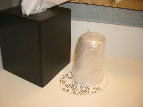 Omni Providence Hotel: No glassware in guestroom, just plastic cups. NOT FOUR DIAMOND STANDARDS