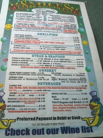 Smiles Seafood Cafe: menu verso