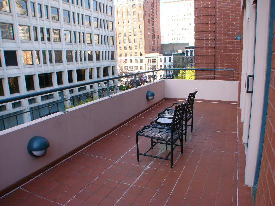 The Berkeley Hotel: views of Richmond from top floor patio