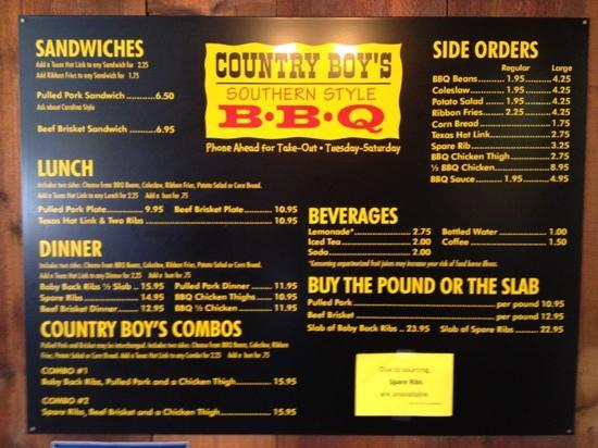 Country Boy's Bbq: menu