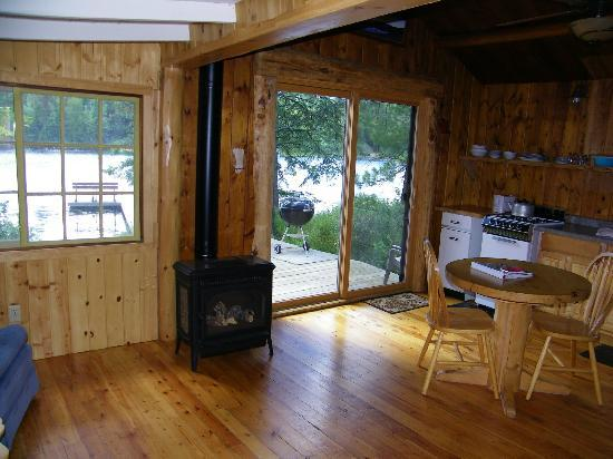 Fenske Lake Resort Cabins: Kitchen area with view off deck
