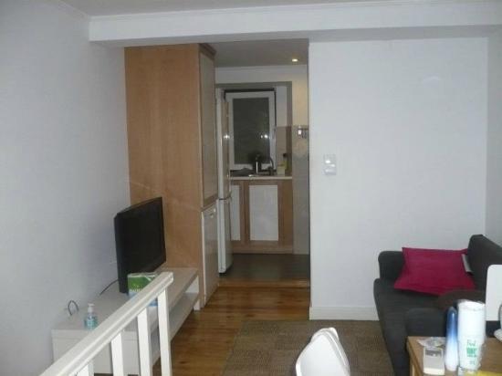 Hello Lisbon Santos Apartments: living area and a bi of kitchen