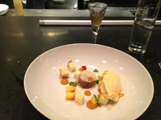 Salt of the Earth: dessert: peach, chocolate, hazelnut, pound cake