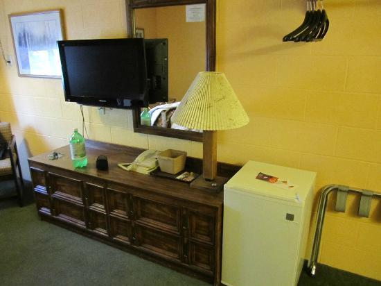 Cheap Sleep Motel: TV and Fridge