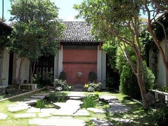 Honolulu Museum of Art: The Chinese courtyard, guava trees.