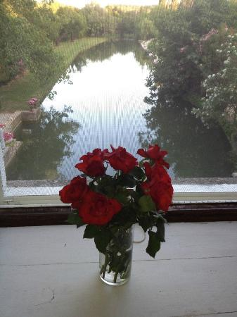 Domaine du Moulin : Fresh flowers in my room overlooking the millstream. Julianna Room.