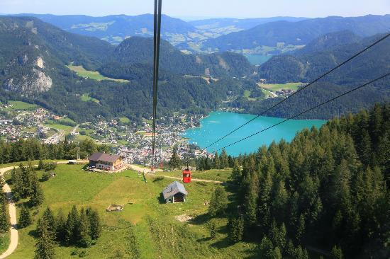 Zwolferhorn Cable Car: View from the cable car while ascending to the top of the mountain