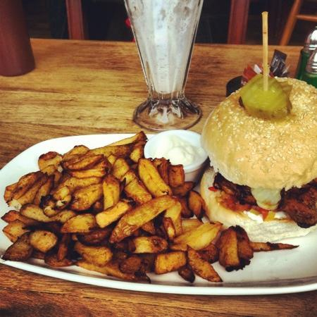 fajita burger and milkshake, recommended! beautiful! - Picture of ...