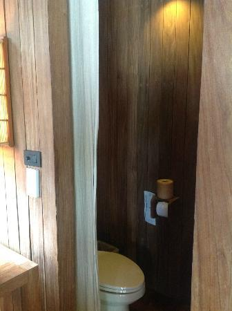 Haadtien Beach Resort: toilet (no door, only Curtain)