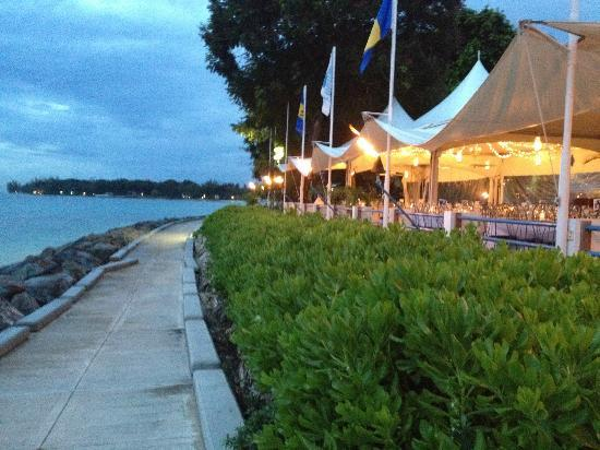 The Beach House Restaurant & Bar: Waterfront wedding reception with lights from the tents.