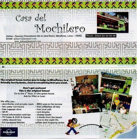 Casa del Mochilero: brochure