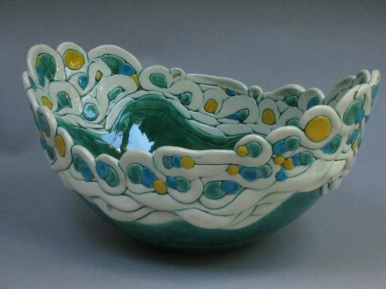 Hoffman's Pottery: Infinity Green Ovoid Bowl