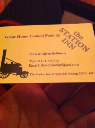 The Station Inn: business card