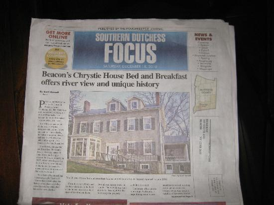 Chrystie House Bed and Breakfast: Article in the paper about the Inn