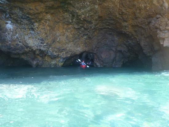 Paddle Sports Center : Paddling out of a cave along Santa Cruz Island