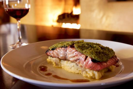Artesian Restaurant: Green Chile Crusted Salmon with smashed potatoes & Poblano chile sauce