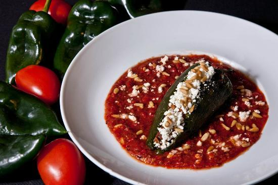 Artesian Restaurant: Roasted Vegetable Chile Relleno with goat cheese, sweet pepper salsa