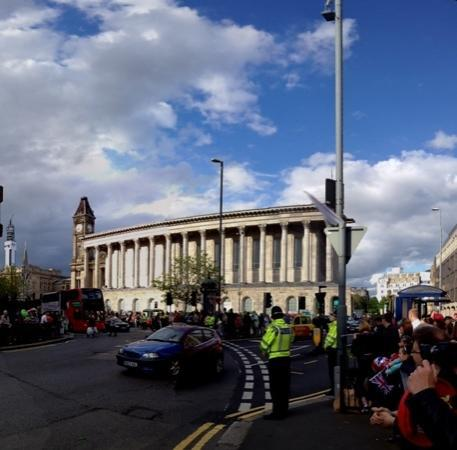 Town Hall Birmingham: Birmingham Town Hall as a backdrop to the 2012 Olympic torch relay. The Council House is located
