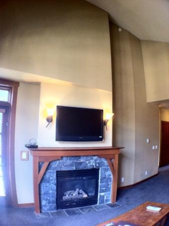 The Village At Squaw Valley: Balcony door and Fireplace - vaulted ceilings on top floor