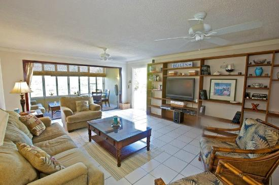 Crystal Cove Beach Resort on Sapphire Bay: Living and Sunroom in Crystal Cove Condo Unit D28