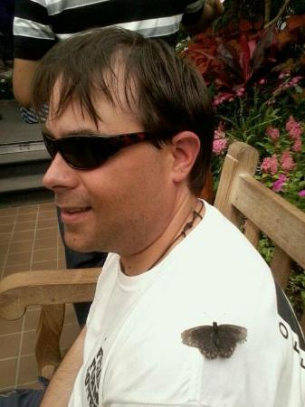 Eden Park: A butterfly caught my husband :)