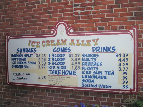 Ice Cream Alley: Reasonable prices