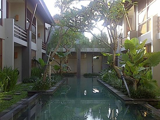 Casa Bidadari: The pool, seen from our room at the very end of the complex