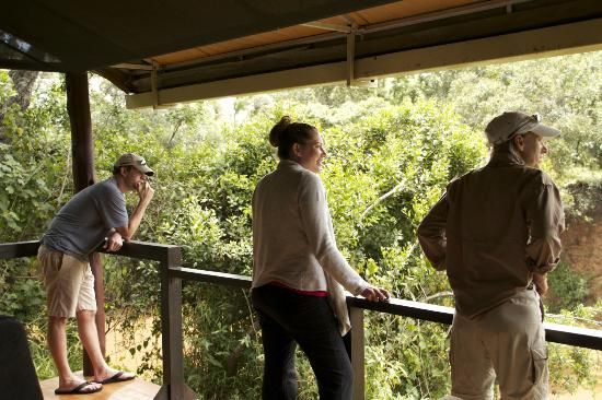 Ngerende Island Lodge : On our deck as we watch the herd at the river w/Maasai