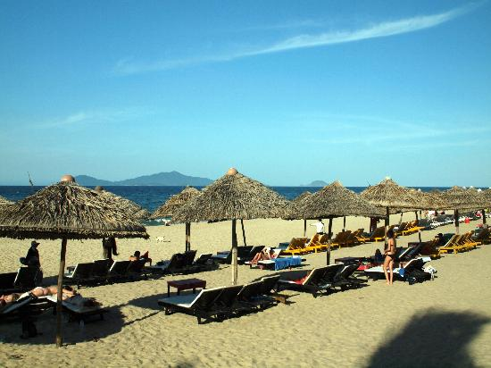 Cua Dai Beach: Beach mid afternoon. Free loungers if you buy drinks from owners restaurant