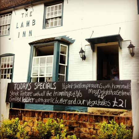 The Lamb inn chalk board out front