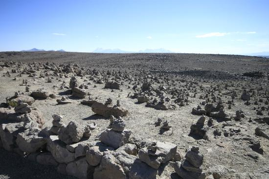 San Miguel Viewpoint: People leave rocks at the top