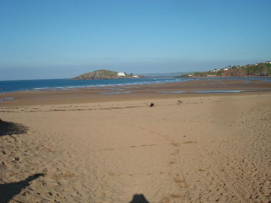 Bantham Beach: Looking down the beach at low tide with Burgh Island in the distance, in April